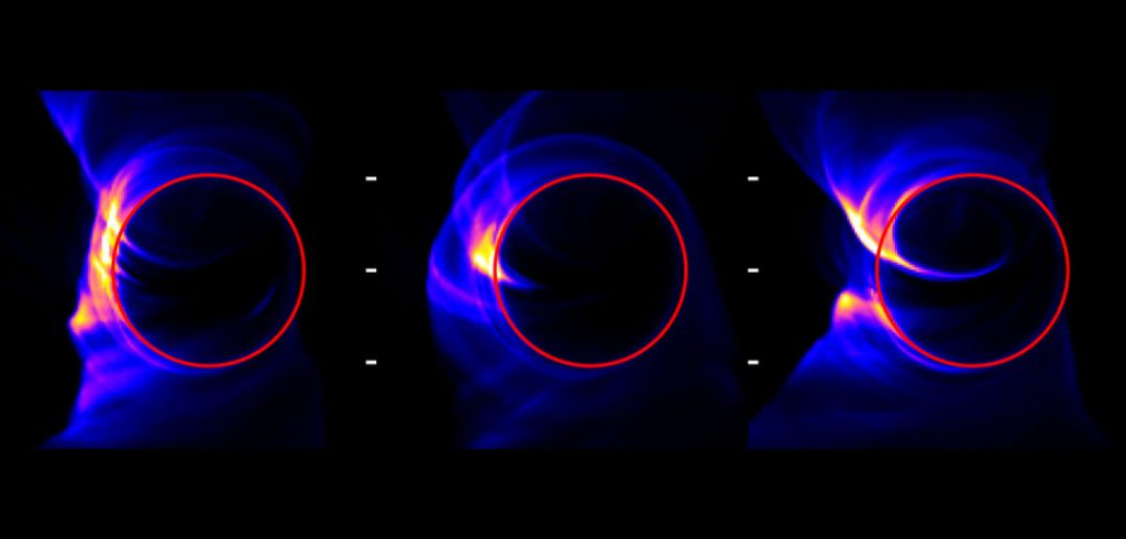 Some example snapshots of the simulated shadow of the event horizon of a black hole. The images from this simulation demonstrate what we expect to see in 1.3-mm emission in eventual images from the Event Horizon Telescope. [Adapted from Medeiros et al. 2018].