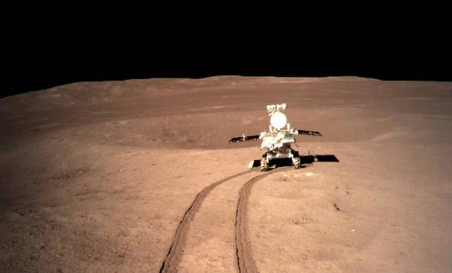 The Yutu-2 Rover exploring the far side of the moon. Image Credit: CNSA.
