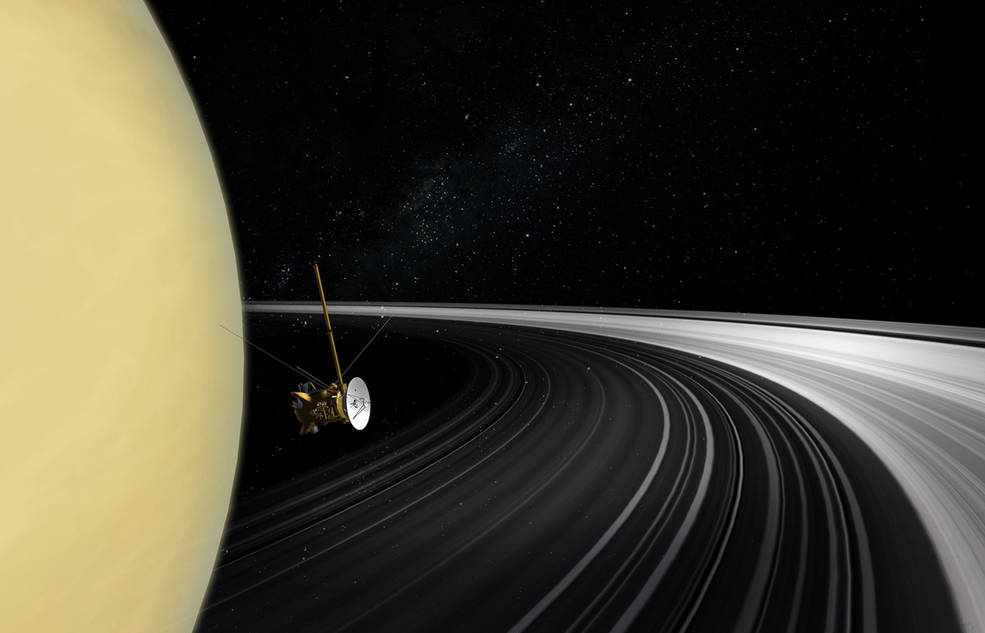 An artist's concept of the Cassini orbiter crossing Saturn's ring plane. New measurements of the rings' mass give scientists the best answer yet to the question of their age. Image Credit: NASA/JPL-Caltech.