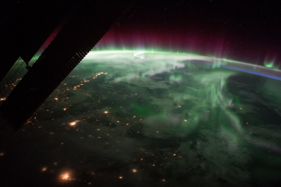 This photograph was taken as the International Space Station was flying some 400 kilometers above Canada. It shows the phenomena known as Aurora Borealis. Image Credit: NASA.