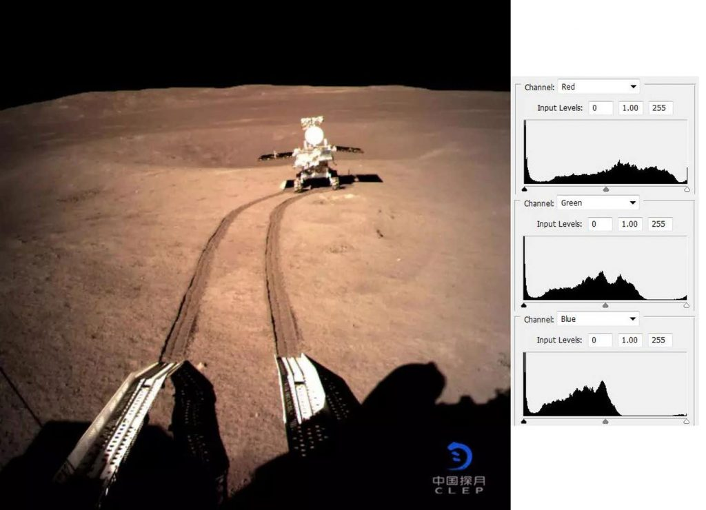 Raw Change'4 image, showing the Yutu 2 rover. Histograms of the red, green and blue channels are shown on the right. Image Credit: CNSA/HANDOUT/EPA