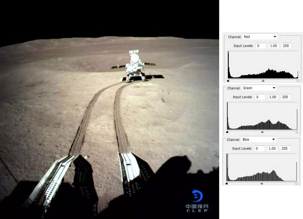 A more realistic view. The same image as before after stretching the green and blue channels. Image Credit: CNSA/EPA.