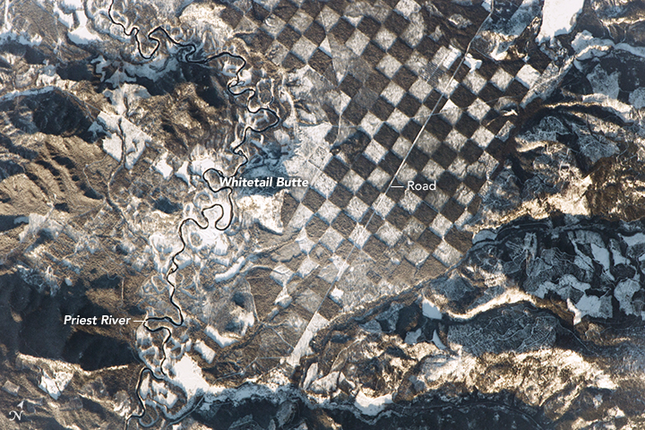 An astronaut aboard the International Space Station observed this distinctive checkerboard pattern alongside the Priest River in northern Idaho. Image Credit: NASA.