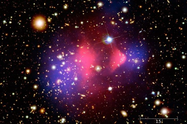 The bullet cluster.Image Credit: NASA/CXC/M. Weiss.