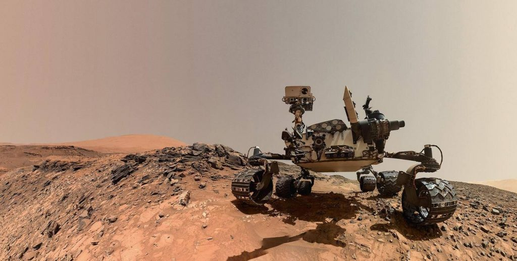 Curiosity made this self-portrait on August 5, 2015, by maneuvering the Mars Hand Lens Imager (MAHLI) camera on the end of a seven-foot-long robotic arm. Image Credit: NASA.