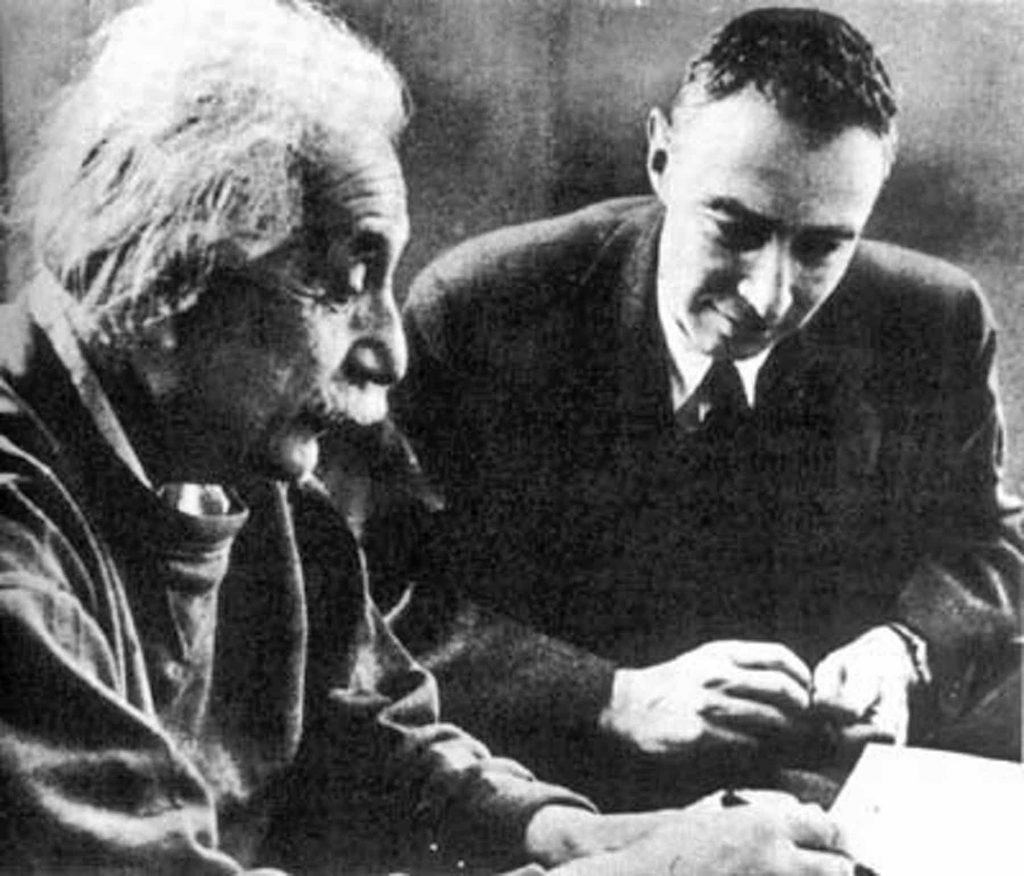 Einstein and Oppenheimer, around 1950.Wikimedia Commons.