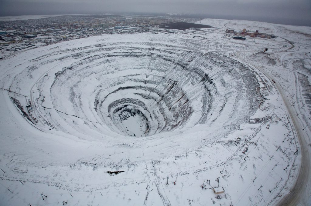 Mir Mine Covered in Snow. Image Credit: Wikimedia Commons.