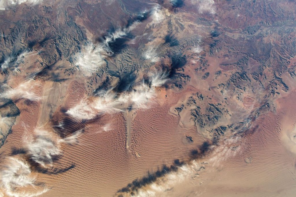 This photograph shows a South African Desert, as seen from the International Space Station. Image Credit: NASA.