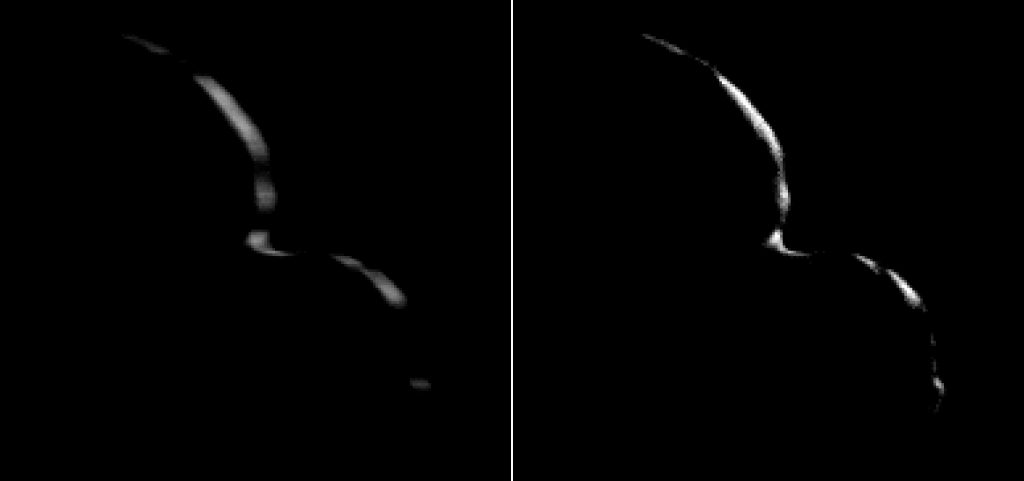 """New Horizons took this image of the Kuiper Belt object 2014 MU69 (nicknamed Ultima Thule) on Jan. 1, 2019, when the NASA spacecraft was 5,494 miles (8,862 kilometers) beyond it. The image to the left is an """"average"""" of ten images taken by the Long Range Reconnaissance Imager (LORRI); the crescent is blurred in the raw frames because a relatively long exposure time was used during this rapid scan to boost the camera's si'gnal level. Mission scientists have been able to process the image, removing the motion blur to produce a sharper, brighter view of Ultima Thule's thin crescent. Image Credit: NASA/Johns Hopkins Applied Physics Laboratory/Southwest Research Institute/National Optical Astronomy Observatory"""