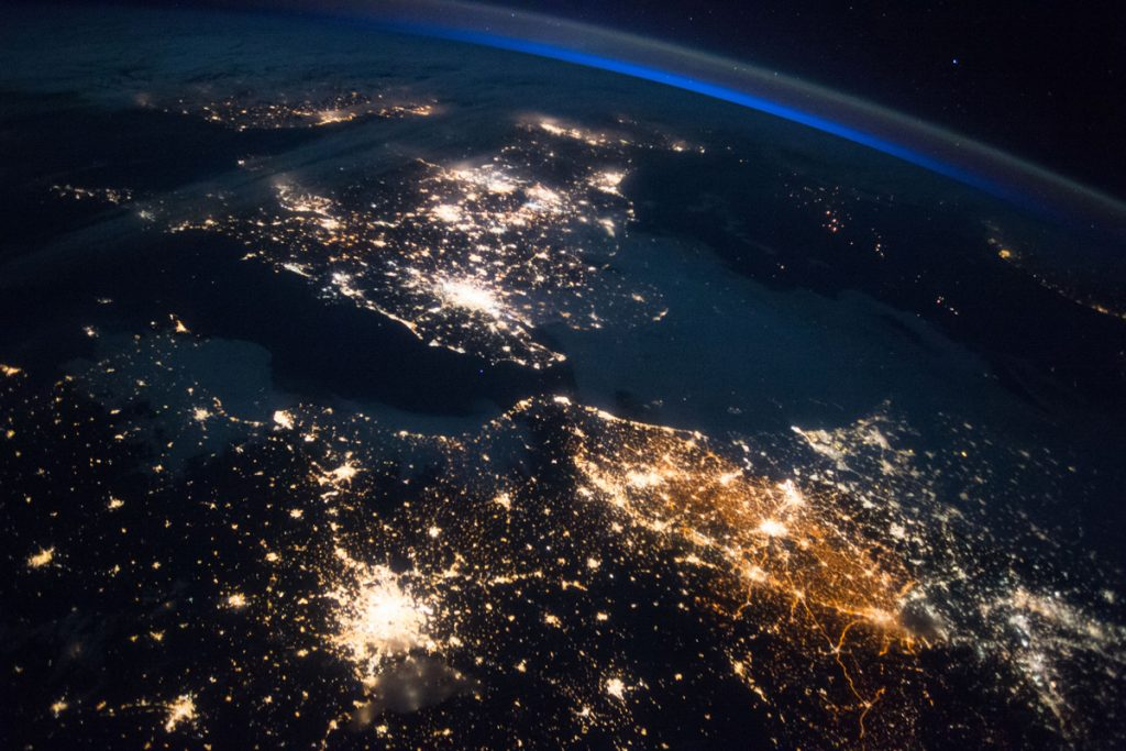 This image, photographed in space shows France, the United Kingdom, the Netherlands and Belgium. Image Credit: NASA.