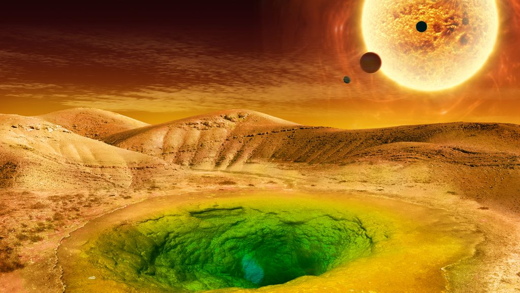 This image is an artist's conception of what life could look like on the surface of a distant planet. Image Credit: NASA.