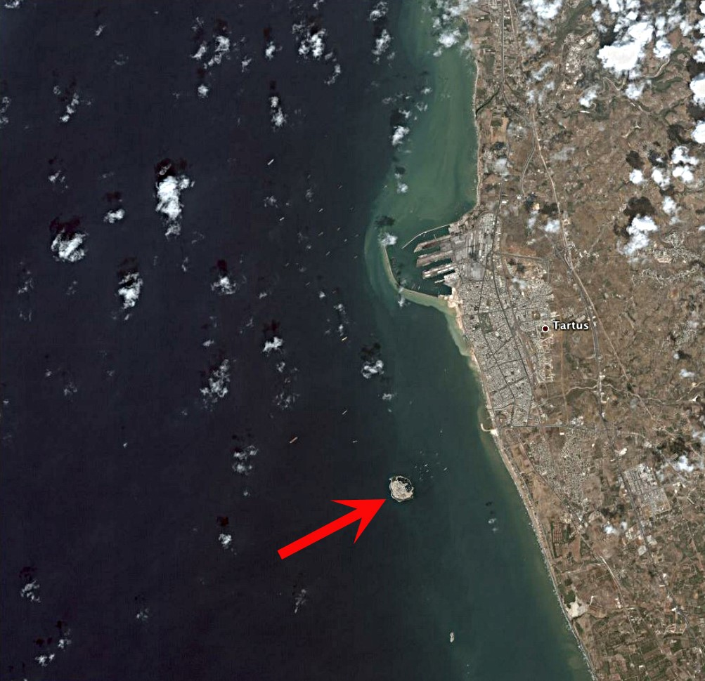 Satellite image of Arwad with Tartus on the Syrian coast to the east. Image Credit: Wikimedia Commons.