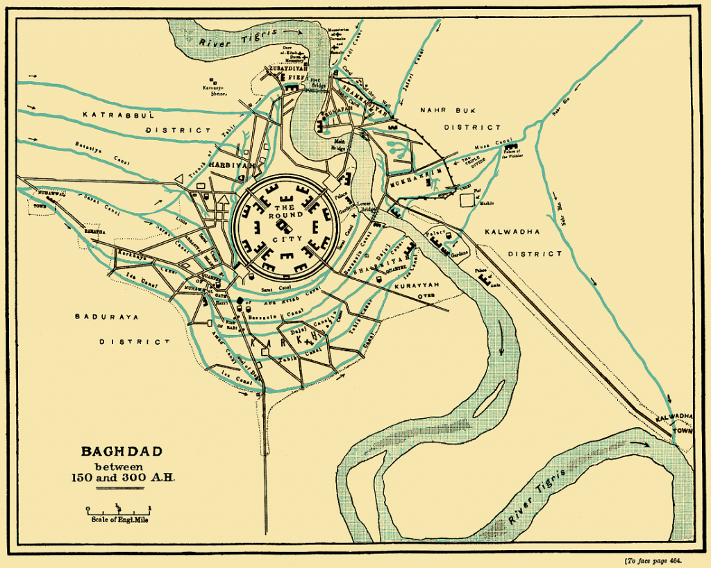 Baghdad under the early Abbasid caliphs, with the Round City. Image Credit: Wikimedia Commons.