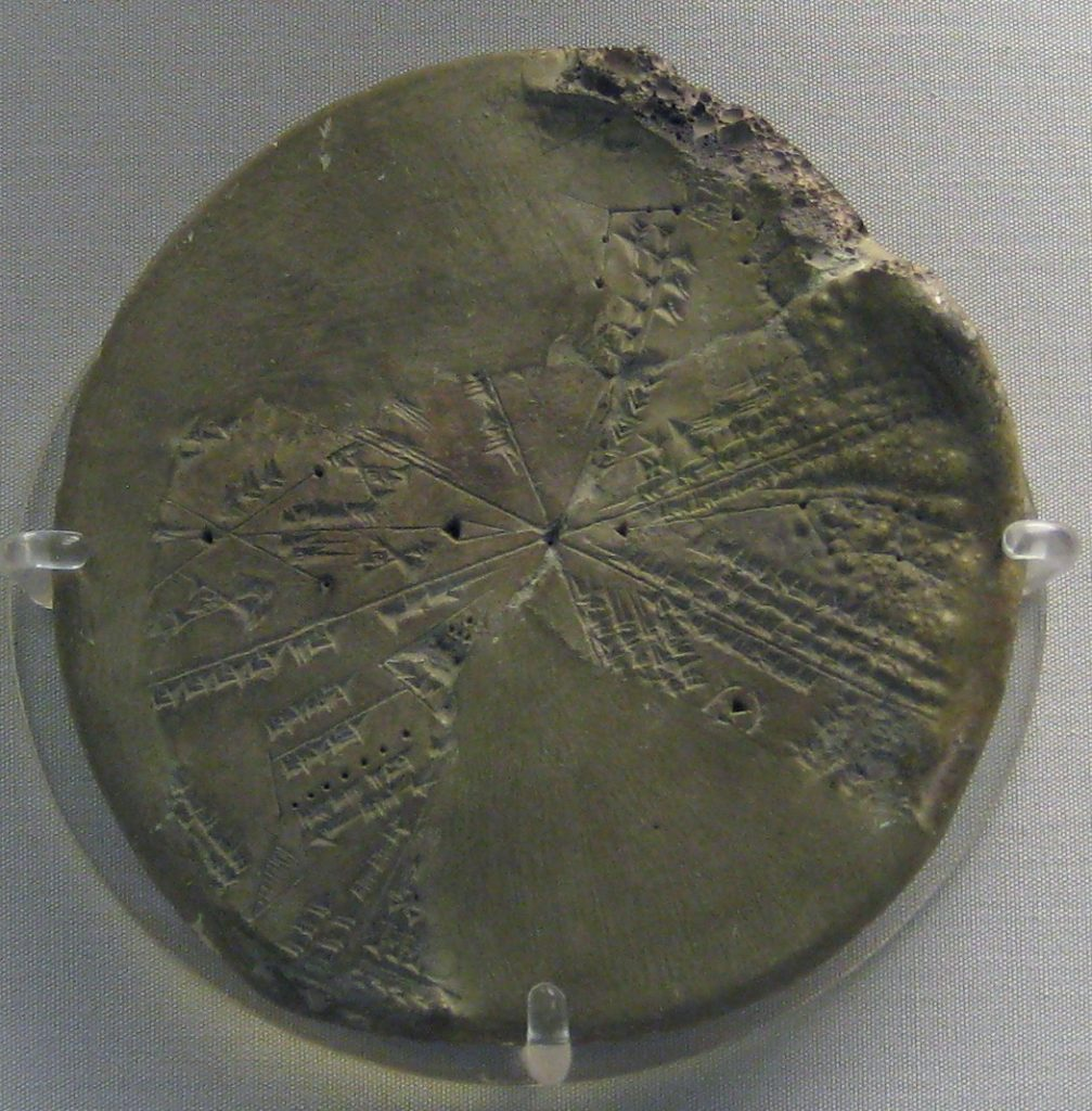 "Part of a circular clay tablet with depictions of constellations (planisphere); the reverse is uninscribed; restored from fragments and incomplete; partly accidentally vitrified in antiquity during the destruction of the place where it was found. Found in Kuyunjik, ancient Nineveh, in the so-called ""Library of Ashurbanipal"". Neo-assyrian period. Image Credit: Wikimedia Commons."