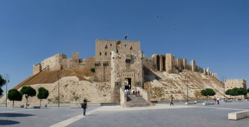Frontal view on the Citadel of Aleppo. Image Credit: Wikimedia Commons.