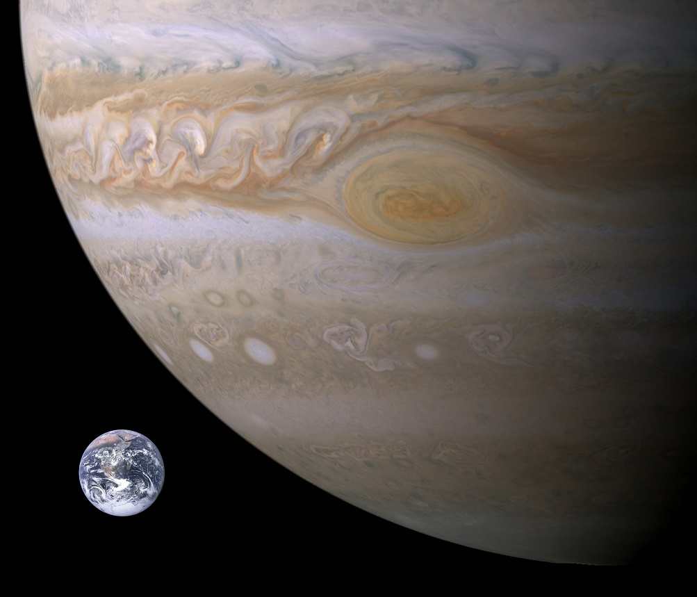 A comparison between Earth and Jupiter.