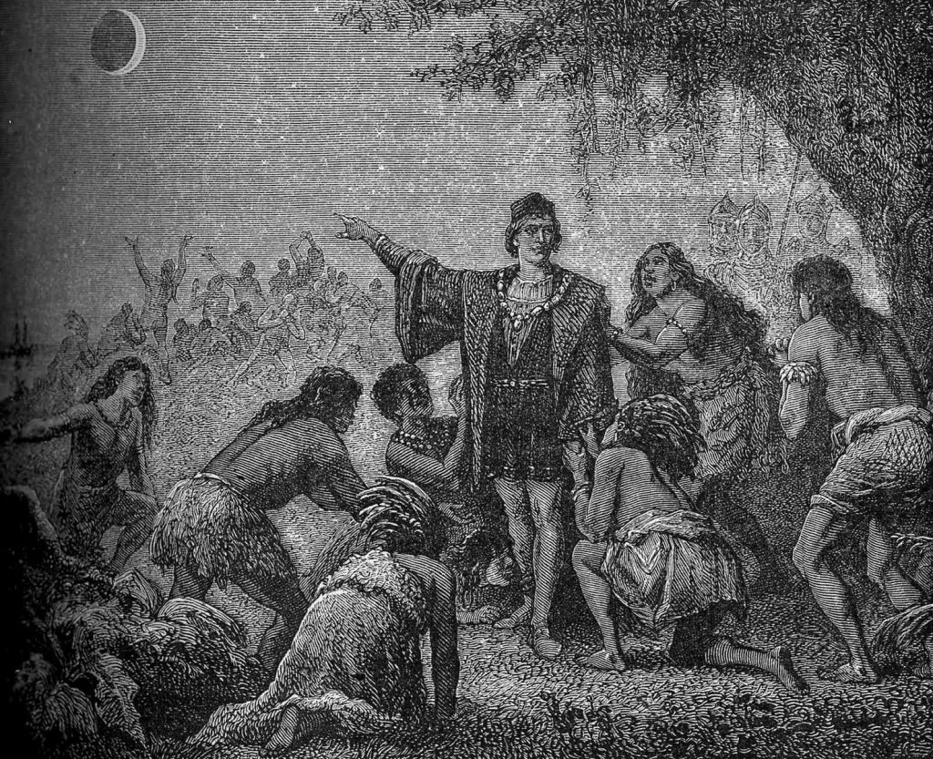 Depicted here is a drawing from an 1879 edition of L'Astronomie, showing Christopher Columbus foretelling the lunar eclipse to the native Arawak. Image Credit: Wikimedia Commons.Public Domain