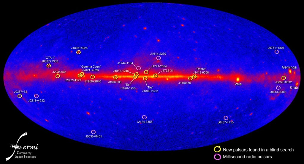 Gamma-ray pulsars detected by the Fermi Gamma-ray Space Telescope. Image Credit: Wikimedia Commons.