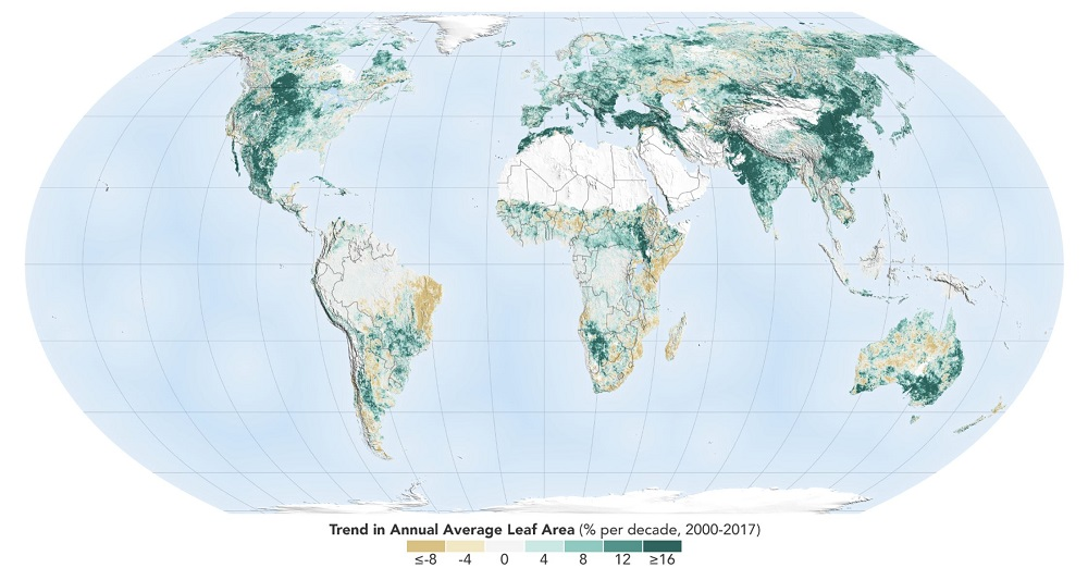 The world is a greener place than it was 20 years ago, as shown on this map, where areas with the greatest increase in foliage are indicated in dark green. Image Credit: NASA Earth Observatory.