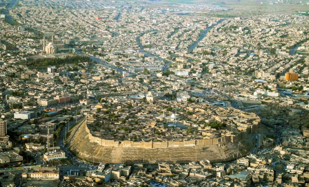 Aerial view of the Erbil citadel. Image Credit: Wikimedia Commons.