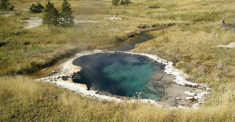 Pools of hot water like this are the home to bacteria that can eat and breathe electricity. Image Credit: Washington State University.