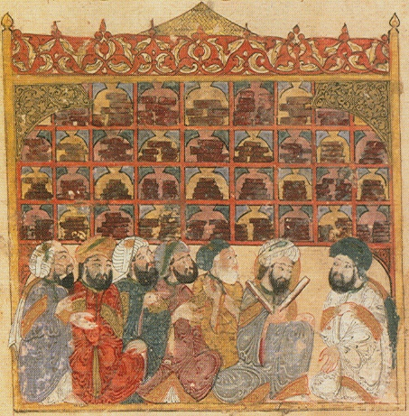 13th century illustration depicting a public library in Baghdad, from the Maqamat Hariri. Bibliotheque Nationale de France. Image Credit: Wikimedia Commons.