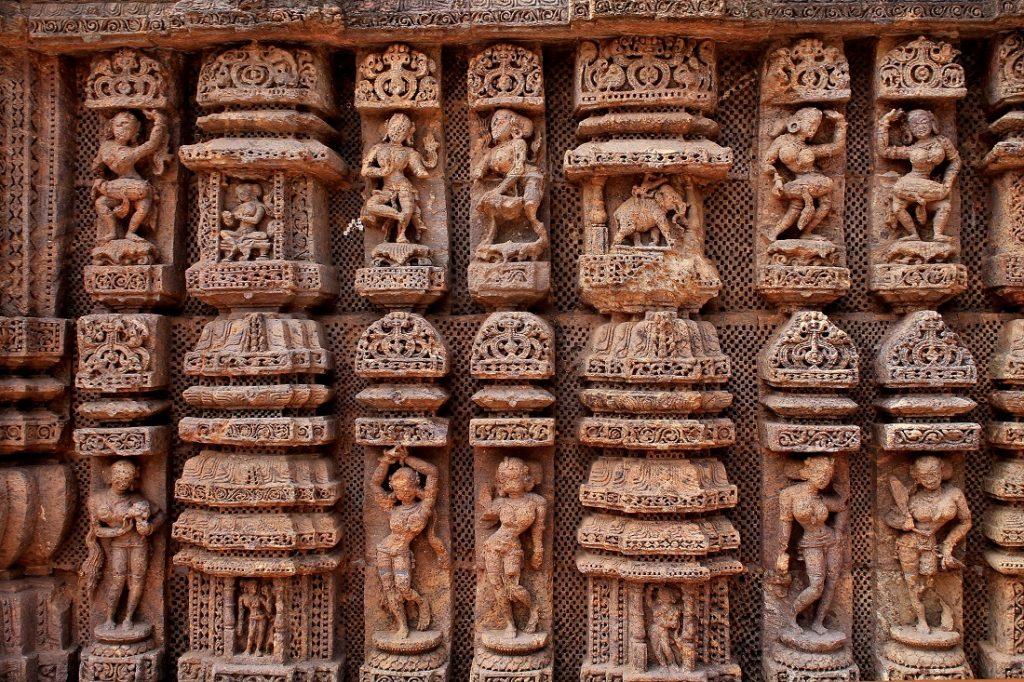 Carvings on the Konark Sun Temple, a 13th-century AD Sun Temple at Konark in Odisha, India.