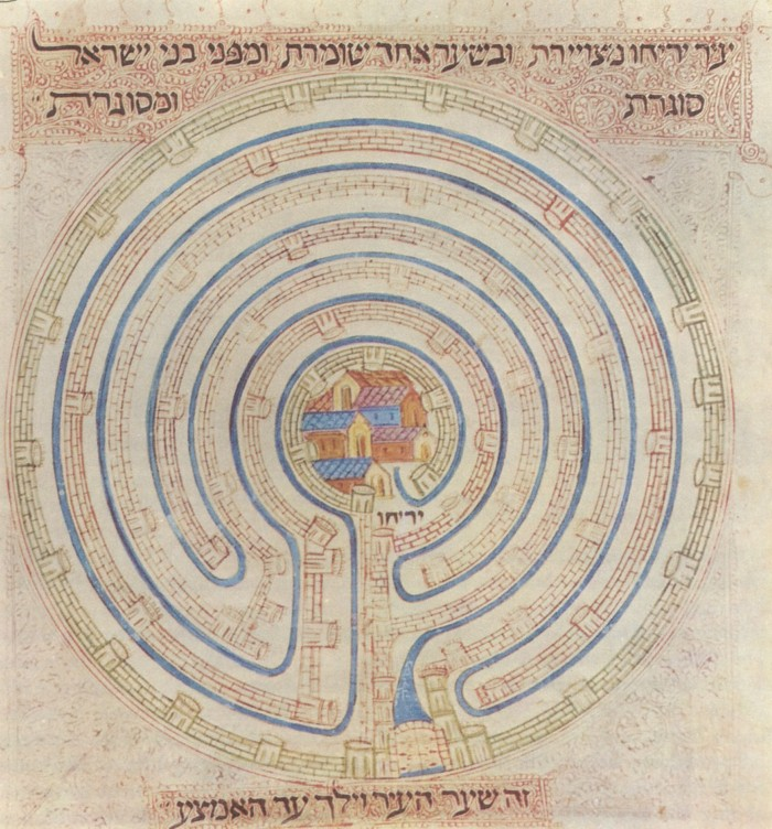 14th century map of Jericho in Farchi Bible. Image Credit: Wikimedia Commons.