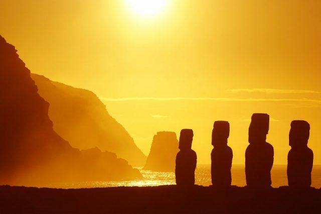An image of the Moai statues at Rapa Nui.