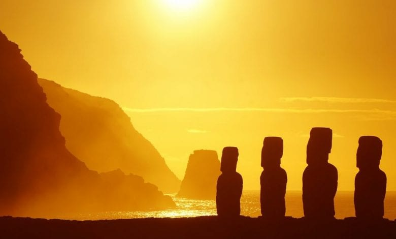 An image of the Moai statues at Rapa Nui.
