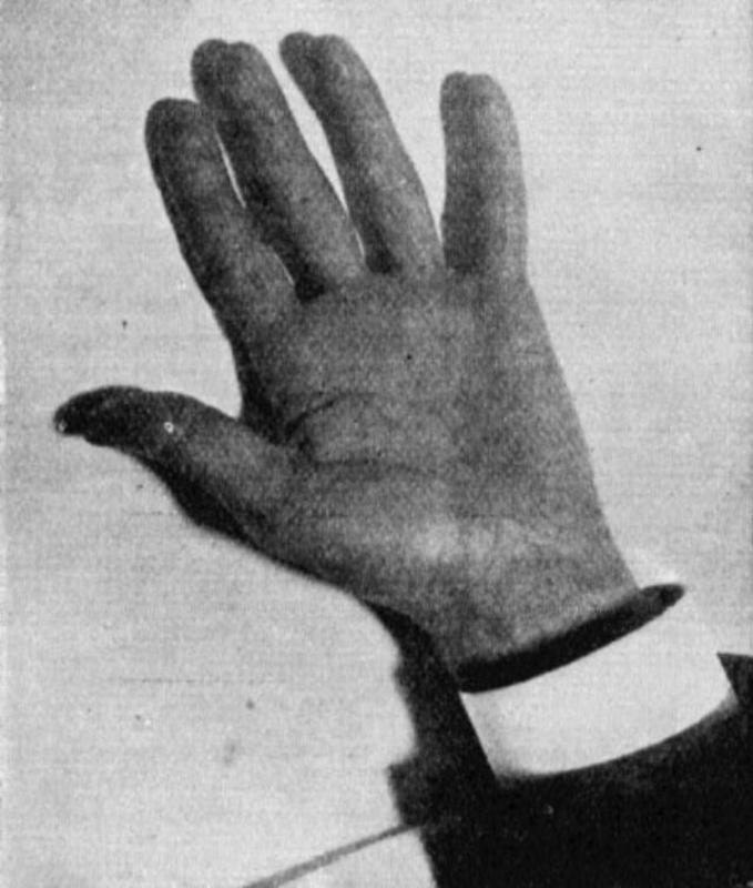 The hand of Nikola Tesla captured by his artificial daylight.
