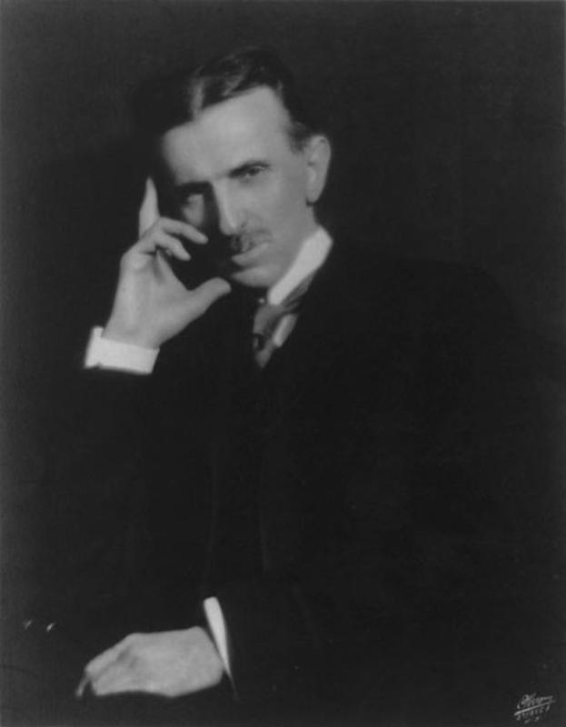 Nikola Tesla thinking.