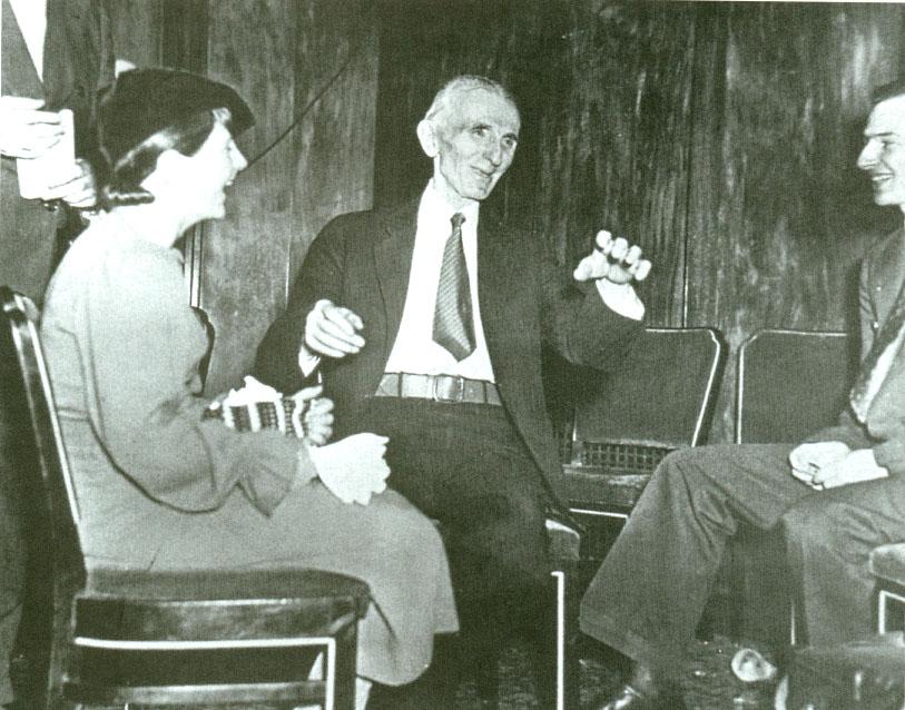 Rare photograph of Nikola Tesla during an interview.