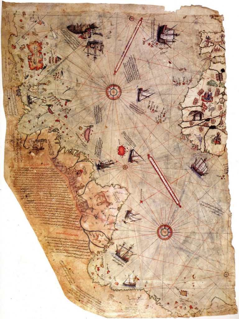 "Surviving fragment of the Piri Reis map showing the Central and South American coast. The appended notes say ""the map of the western lands drawn by Columbus."" Image Credit: Wikimedia Commons."