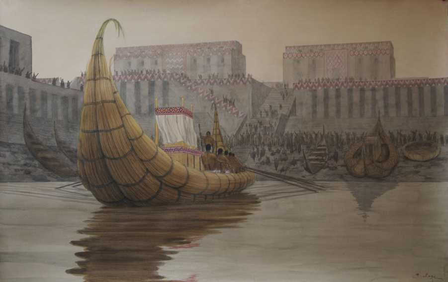 A re-creation of the port at Eridu. Image Credit: Wikimedia Commons.