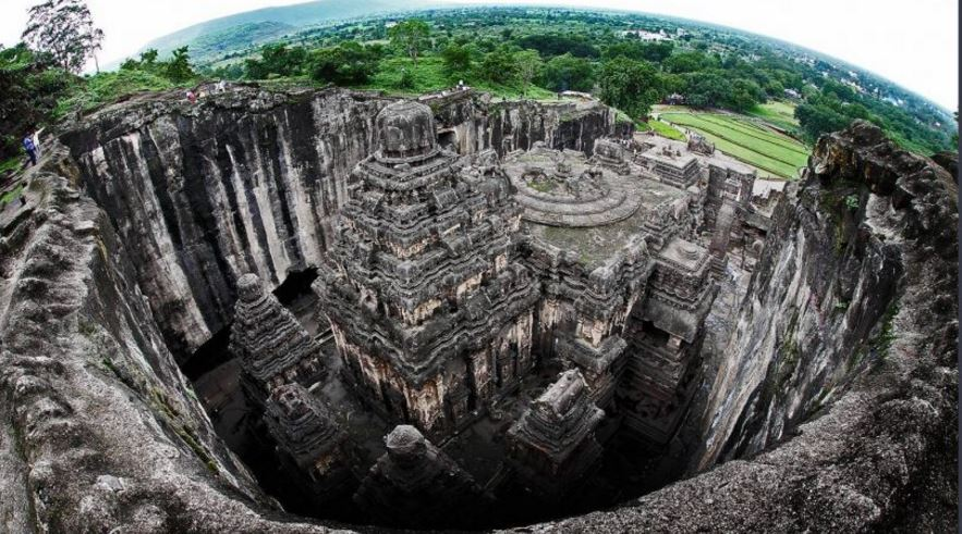 Ellora Rock Cut Temple. India.