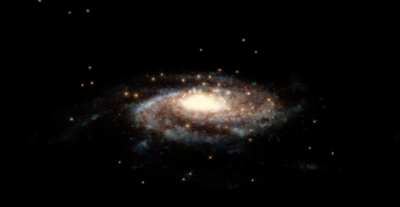 This artist's impression shows a computer generated model of the Milky Way and the accurate positions of the globular clusters used in this study surrounding it. Scientists used the measured velocities of these 44 globular clusters to determine the total mass of the Milky Way, our cosmic home.