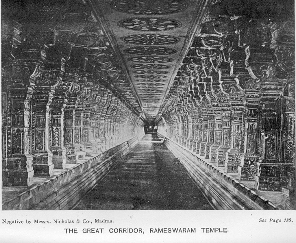 A historic image of the temple corridor. The corridor is the longest for any Hindu temple in India. Image Credit: Wikimedia Commons.