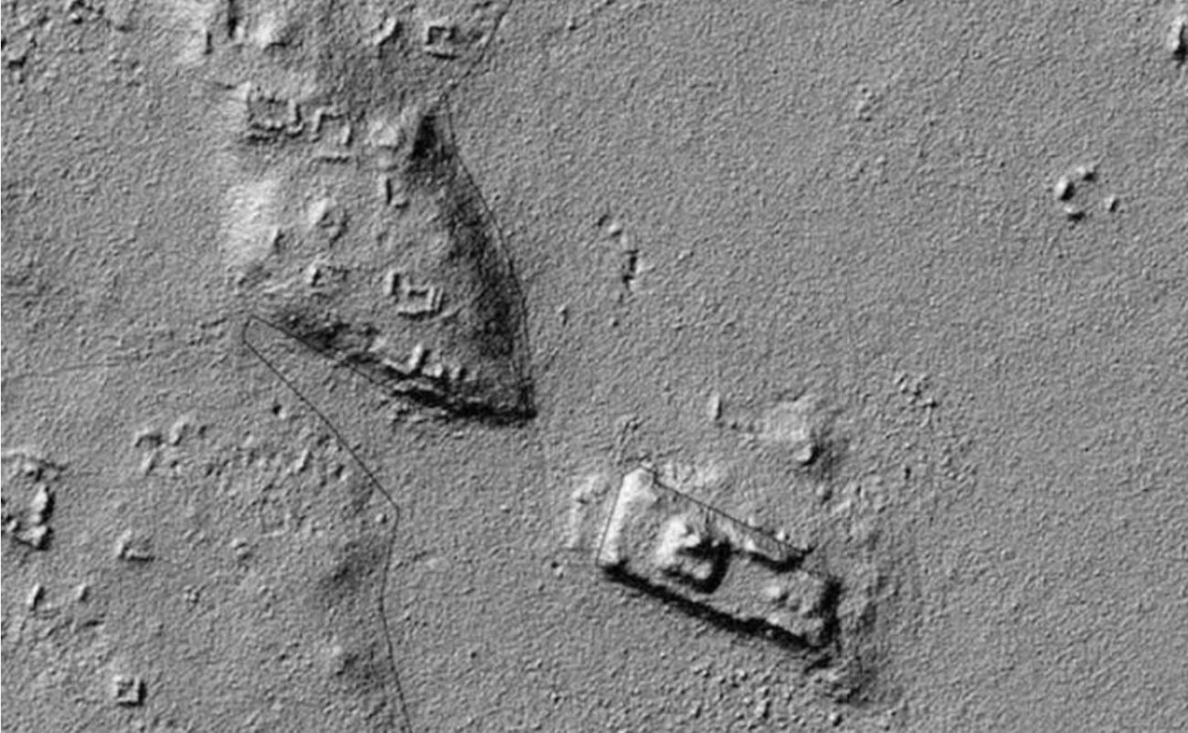 LiDAR imagery showing the structures.
