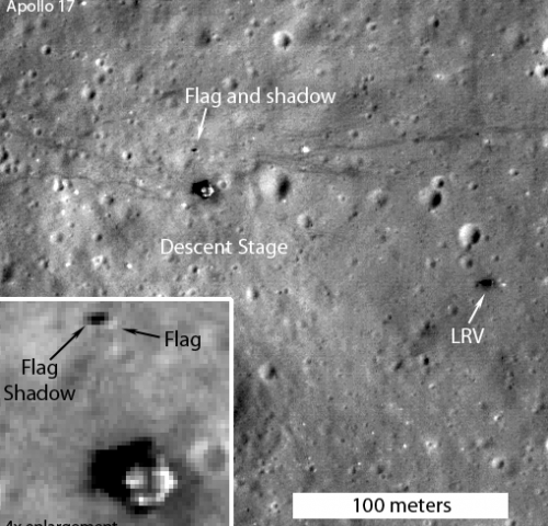 In 2012, the LRO mission captured images of the American flags planted at the Apollo landing sites. This one is from the Apollo 17 landing site, via NASA/GSFC/Arizona State University/Phys.org.