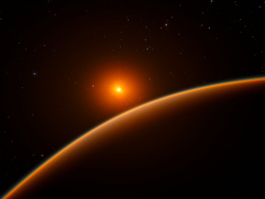 "This artist's impression shows the exoplanet LHS 1140b, which orbits a red dwarf star 40 light-years from Earth and may be the new holder of the title ""best place to look for signs of life beyond the Solar System"". Image Credit: Wikimedia Commons."