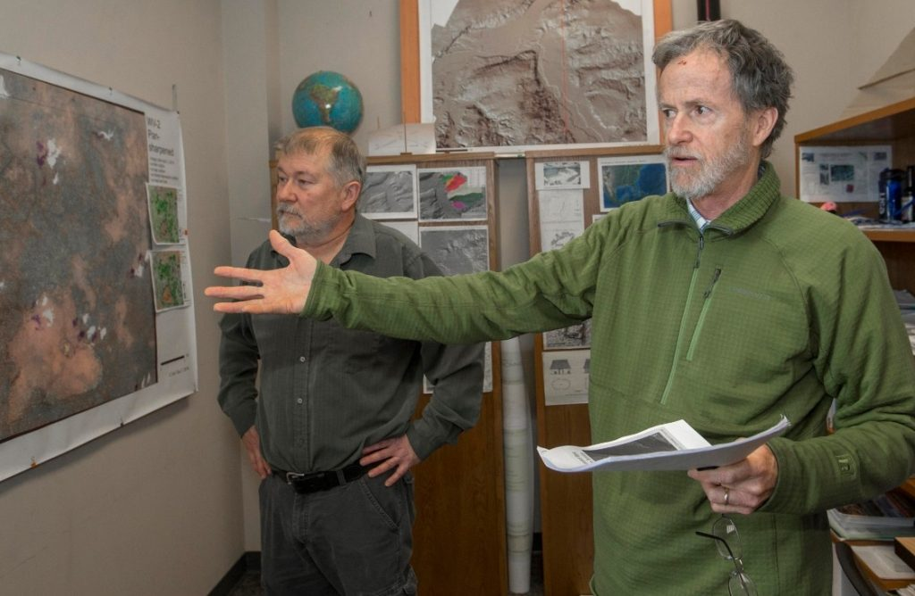 UC geography professor Nicholas Dunning, left, and assistant professor Christopher Carr have been studying ancient Maya sites in Mexico. Photo/Joseph Fuqua II/UC Creative Services.
