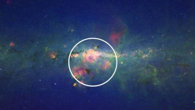 The center of the Milky Way Galaxy as seen in infrared light. Image Credit: NASA/JPL-Caltech.