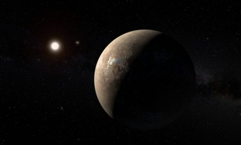 Artist's impression of the exoplanet Proxima Centauri b shown as of a arid (but not completely water-free) rocky Super-Earth. This appearance is one of several possible outcomes of current theories regarding the development of this exoplanet, while the actual look and structure of the planet is known in no ways at this time. Proxima Centauri b is the closest exoplanet to the Sun and also the closest potentially habitable exoplanet as well. Image Credit: Wikimedia Commons.