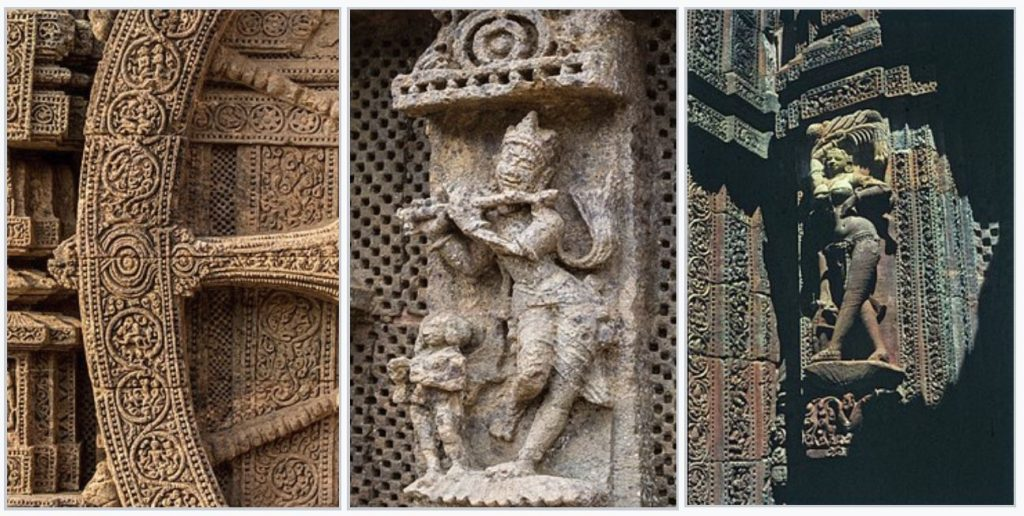 Some of the reliefs and sculptures at the Konark Sun Temple. Image Credit: Wikimedia Commons.