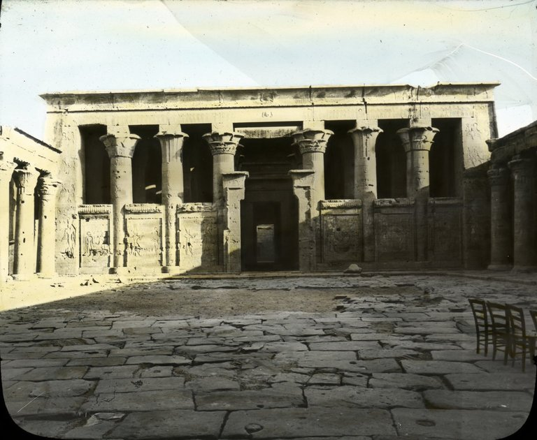 North side of court of Temple of Edfu. Image Credit: Brooklyn Museum.