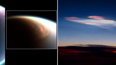Polar clouds, made of methane, on Titan (left) compared with polar clouds on Earth (right), which are made of water or water ice. Image Credit: Wikimedia Commons.