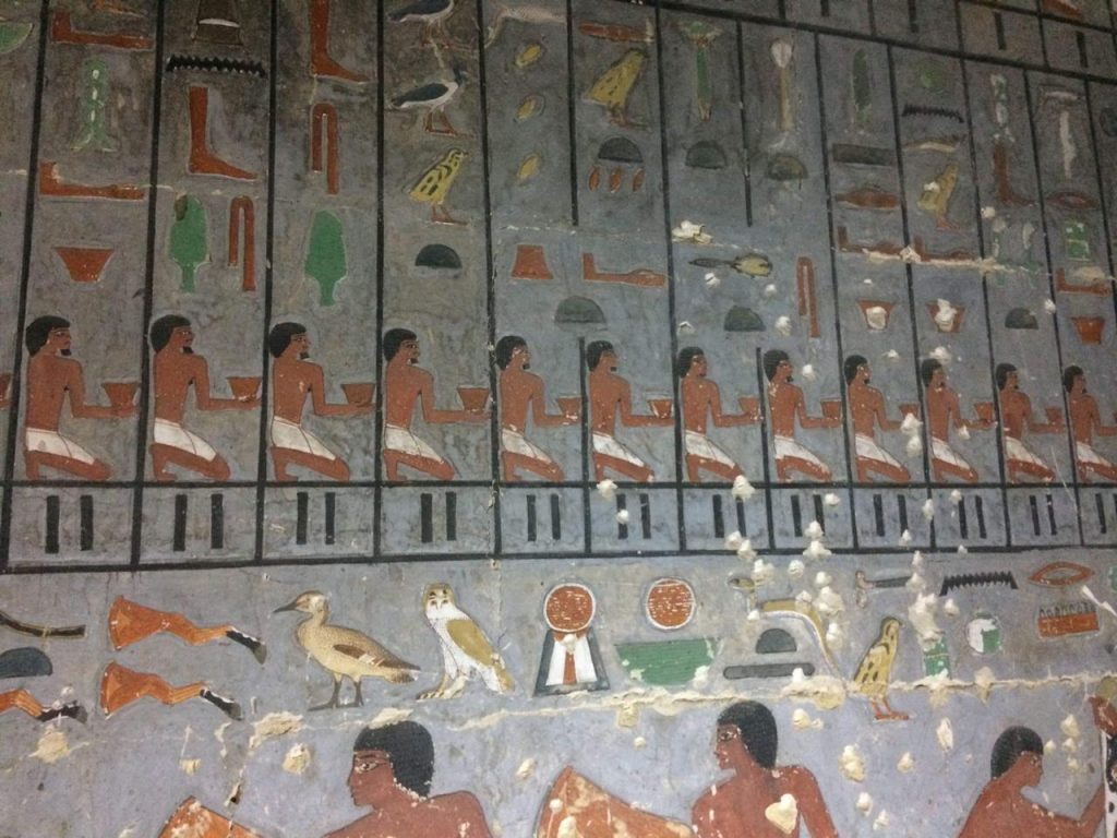 Paintings on the wall of the tomb. Image Credit: Egyptian Ministry of Antiquities.