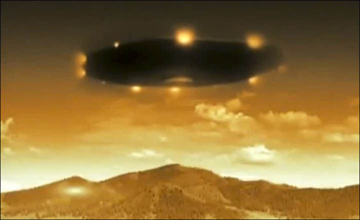 An artists illustration of the alleged UFO's seen near Lake Baikal. Image Credit: NTV.