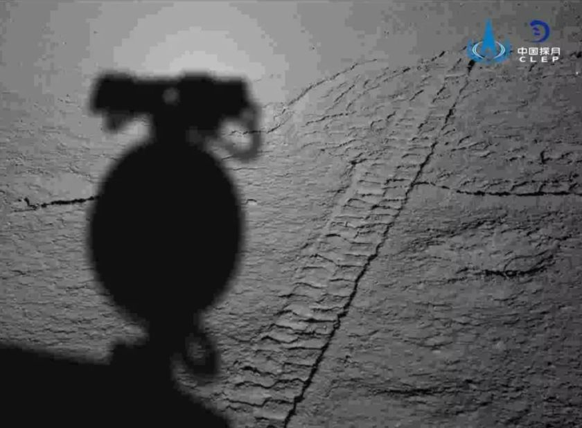 The Yutu 2 Rover photographed its tracks and shadow. Image Credit: CLEP/CNSA.